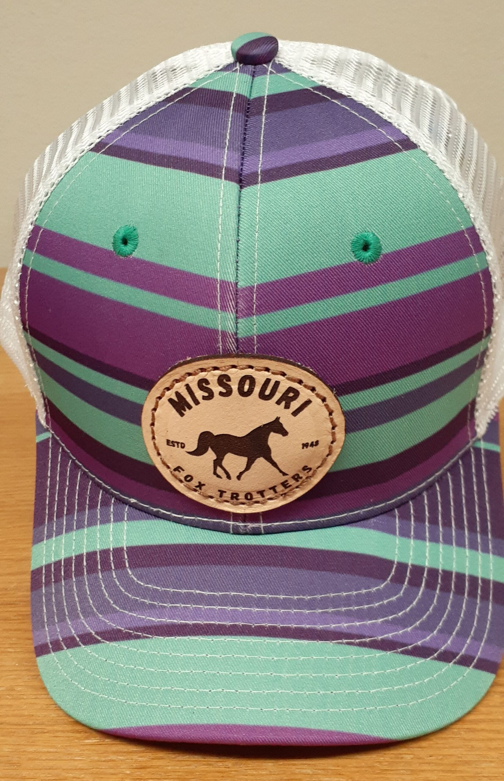 Purple and teal stripe cap
